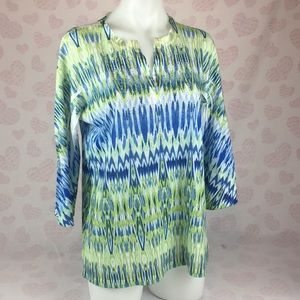 Chico's Popover Blue and Green Blouse